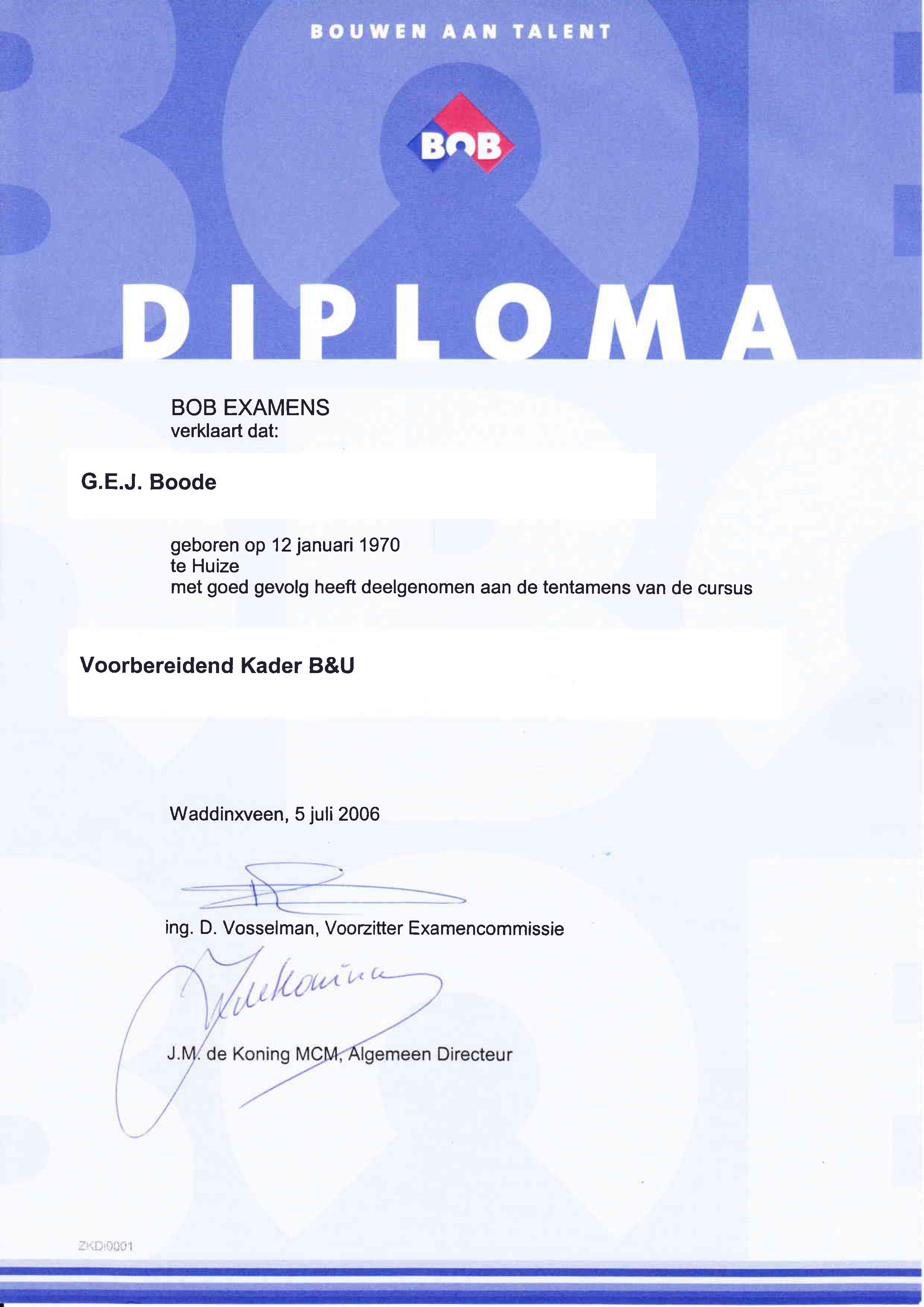 diploma kader B&U